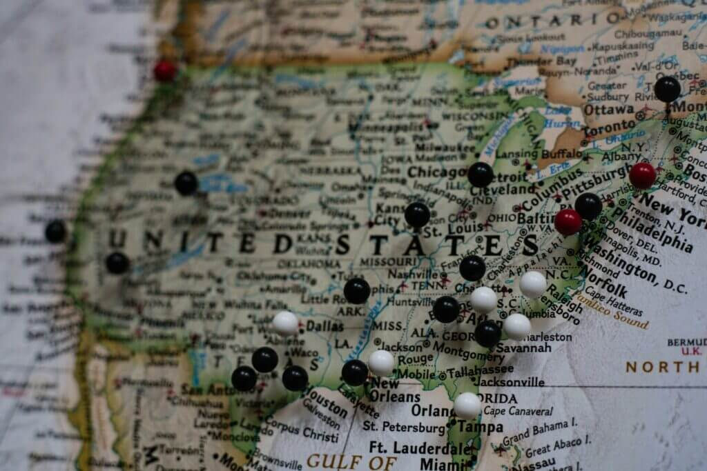 Mapa de los estados unidos - Este articulo habla sobre la apertura para pedido de citas para obtencion de Green Card y diferentes tipos de visados.