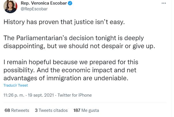 Nota sobre la reforma migratoria 2021 últimas noticias. La imagen es de las declaraciones de la Representante Verónica Escobar.